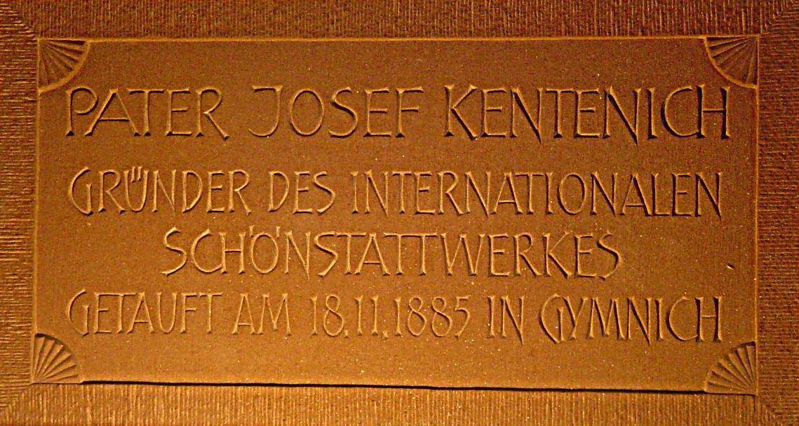 Gedenktafel an die Taufe Pater Kentenich am 18.11.1885